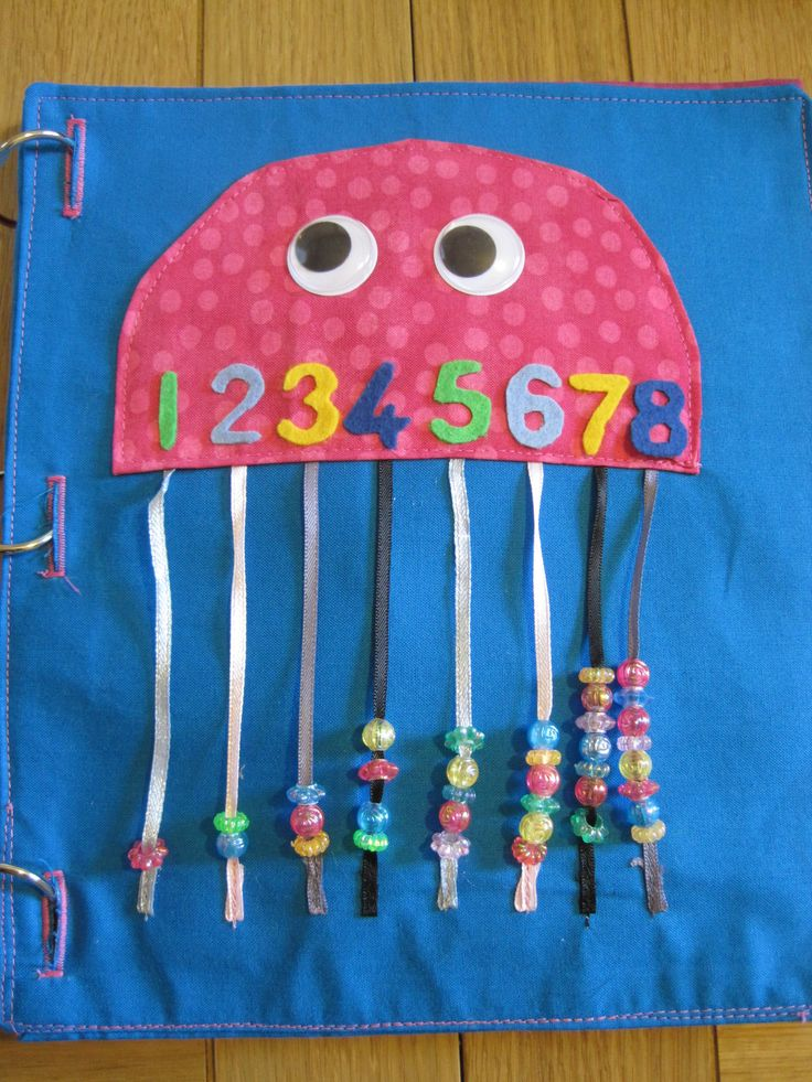 Quiet book page. Octopus counting beads and numbers.