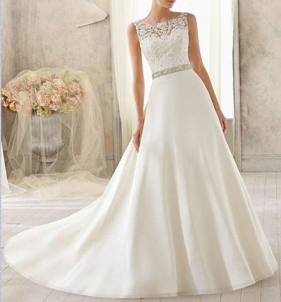 Elegant A-line Lace Beading Applique Bridal Wedding Dress Custom size halter formal evening dress on Etsy, $160.00