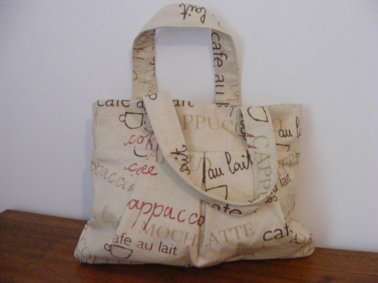 Exclusive handcrafted Prestigious Cappuccino print ladies fabric handbag/ tote/ purse/ everyday bag, exterior pleat detail, cotton lined - pinned by pin4etsy.com