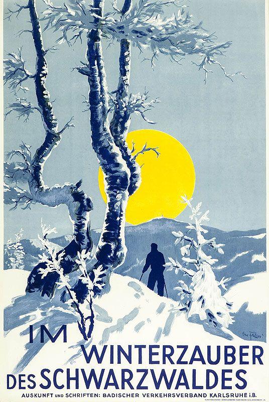 vintage ski poster -  Winterzauber Schwartwald - 1948 Artist- Seiller