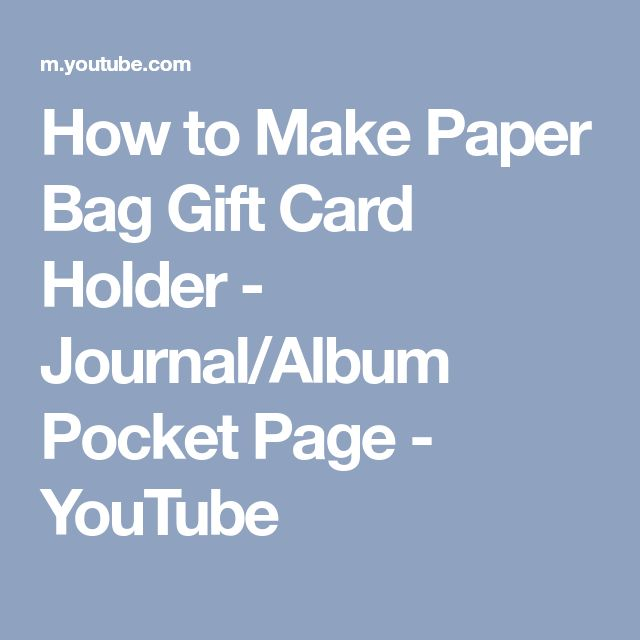 How to Make Paper Bag Gift Card Holder - Journal/Album Pocket Page - YouTube