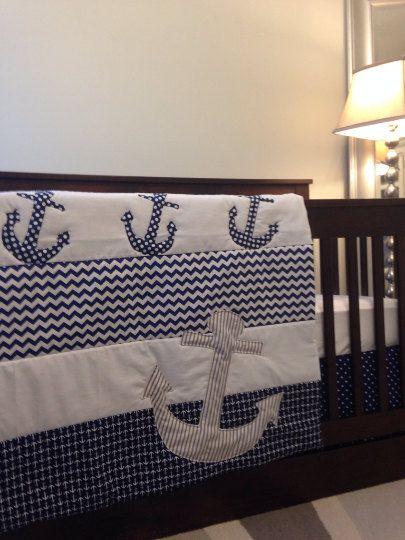 Anchor Toddler quilt, Nautical Toddler bedding