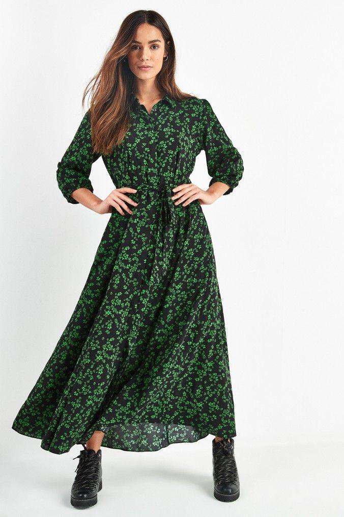 Pin by Maryna on Наряды | Maxi dress green, Maxi shirt dress ...