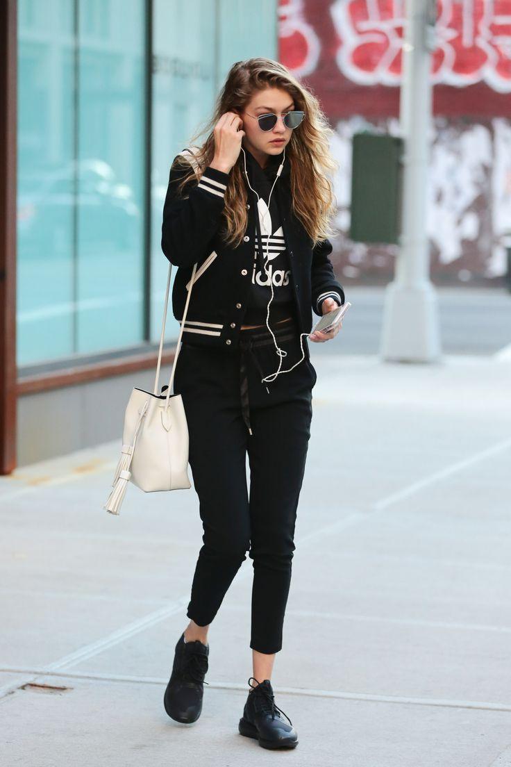 Bomber jacket adidas tee Gigi Hadid