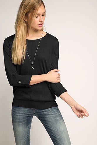 Esprit - - Fijngebreide trui met oprolbare mouwen kopen in de online shop