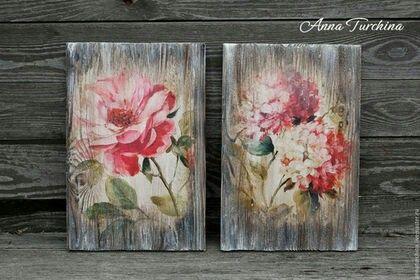 Панно розовые цветы
