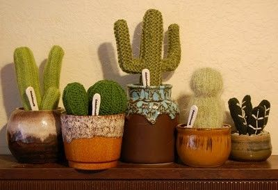 VINTAGE COLLECTION Handknitted Cactus by Odds & Ends Handmade