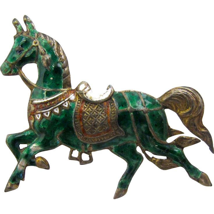Vintage Silver Green Enamel Horse Pin from Thailand
