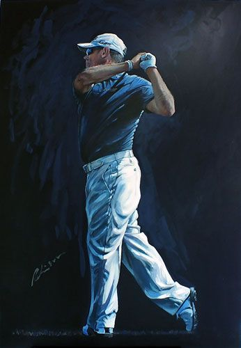 Mark Robinson Acrylic swing portrait painting of Lee Westwood. #golf #art #dubai #england #leewestwood Note: Visit the Mark Robinson website for more details for available stock, commissions or tournament enquiries - www.robinsongolfart.com