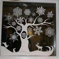 Декор предметов Картина панно рисунок Новый год Вырезание Рисование и живопись Два белых дерева урашение окон к новому году и украшение на стол Бумага Краска фото 1