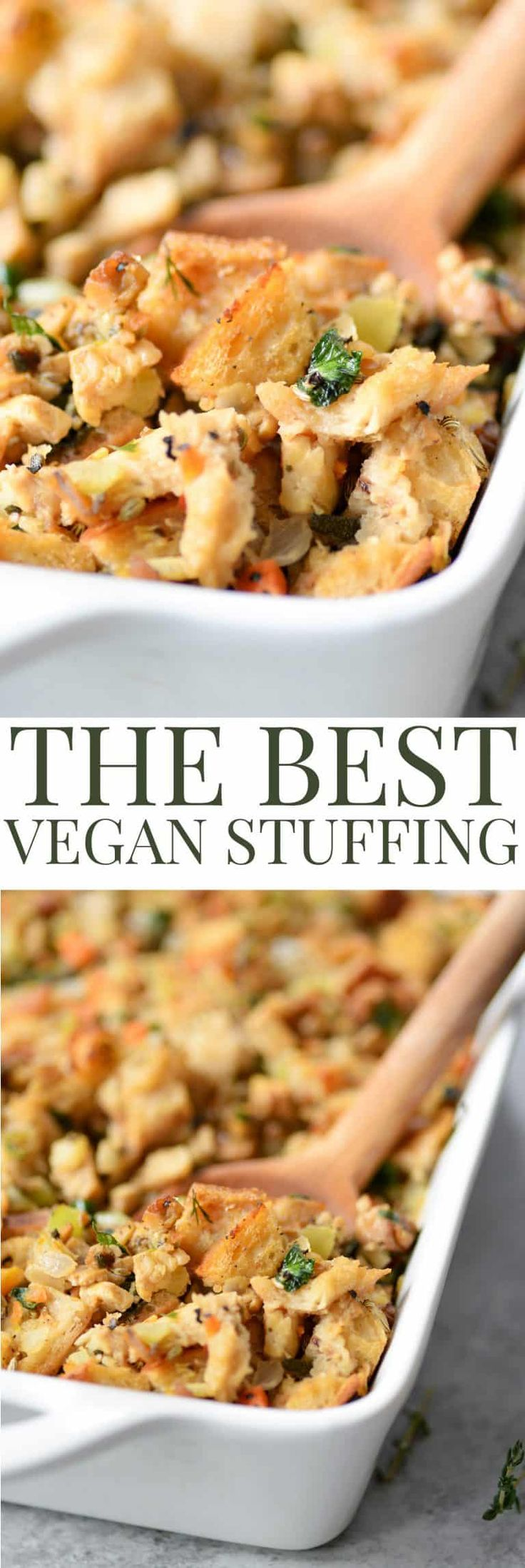 The BEST Vegan Stuffing! Made with homemade tempeh sausage, sauteed vegetables and sourdough bread. This stuffing is a must make for Thanksgiving and the holidays.   www.delishknowledge.com   #stuffing #vegan #thanksgiving #healthy #christmas #holidays #healthy #sourdoughbread #tempe