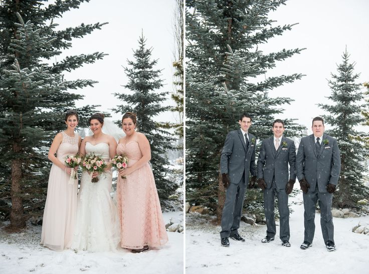 A beautiful winter wedding in Canmore, Alberta with pink & champagne coloured roses, berries, scabiosa pods and winter greenery!  Photo: @oneedition   www.flowersbyjanie.com  #Canmorewedding #Winterwedding #weddingsintherockies #Canadianrockymountainwedding #Canmoreweddingflorist #FlowersbyJanie