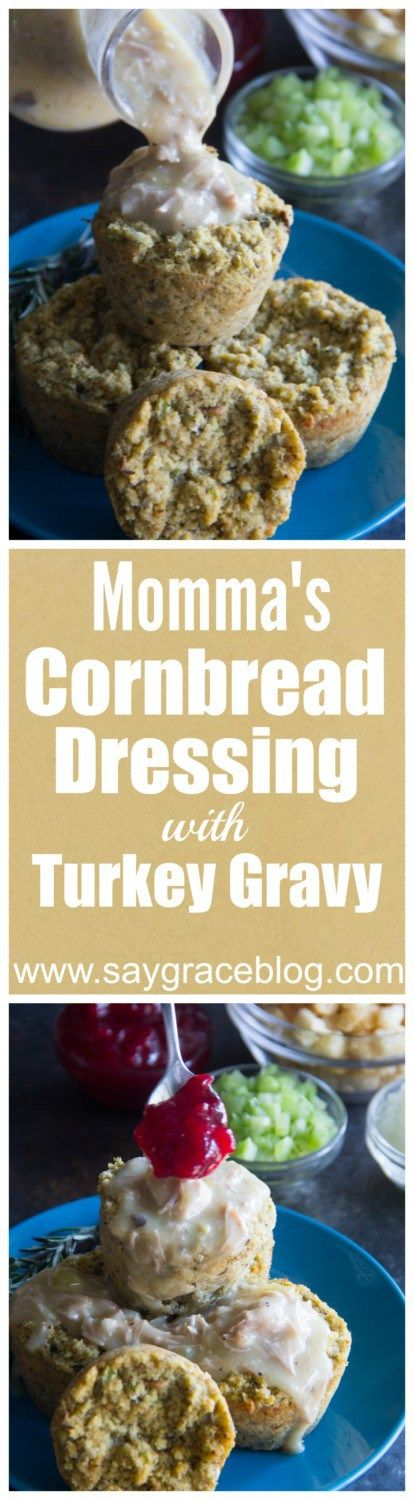 Momma's homemade cornbread dressing with turkey gravy is perfectly seasoned, deliciously moist and will become one of the most anticipated side dishes on your Thanksgiving table year after year!!
