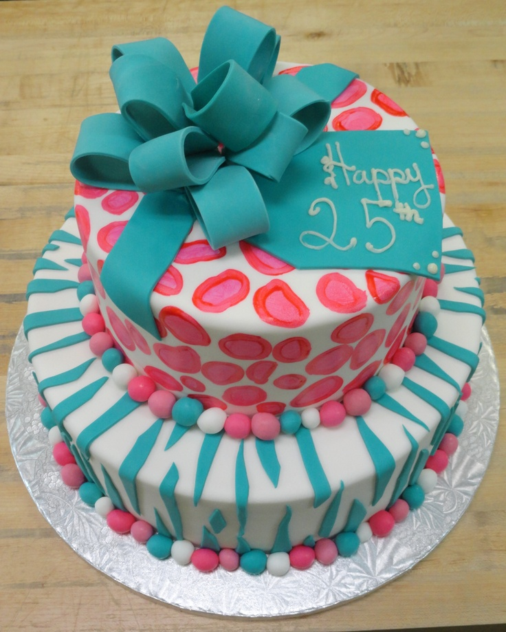 Teal Zebra Stripe And Hot Pink Cheetah Prints Birthday Cake