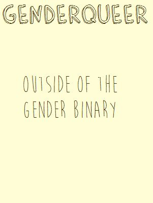 """""""Genderqueer: Outside of the gender binary""""  [follow this link to find a short video and analysis of the gender binary: http://www.thesociologicalcinema.com/1/post/2013/11/gender-binary-gender-baggage.html]  Artist: Penicillium Pusher (http://penicillium-pusher.tumblr.com/post/85773549279/gender-posters-1-2)"""