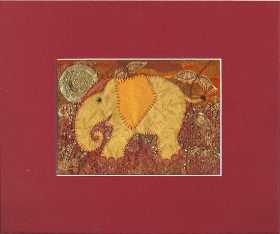 Mixed media embroidery of an elephant, applique elephant wall art, hand stitched and embellished elephant picture