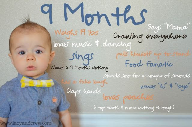9 Month Photo Idea - use a blank wall & photoshop (or PicMonkey) for the text