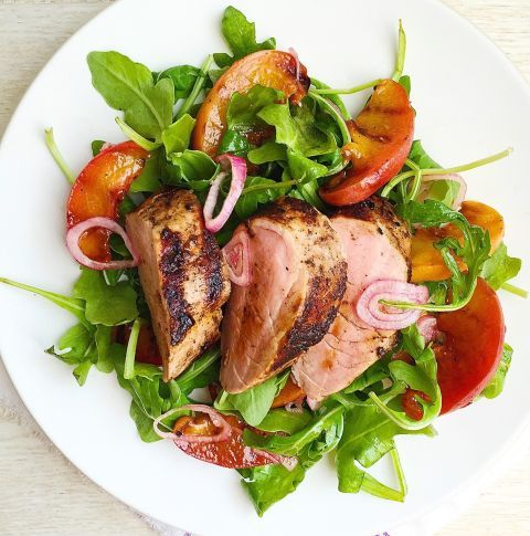 Sweet peaches are the perfect complement to juicy pork tenderloin and peppery arugula. Get the recipe: Spiced Pork Tenderloin with Grilled Peaches and Arugula Salad