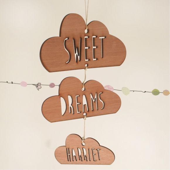Personalised sweet dreams wooden cloud mobile
