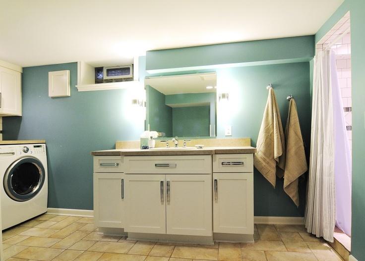 combine bathroom and laundry in basement bathroom basement remodel pinterest basements. Black Bedroom Furniture Sets. Home Design Ideas