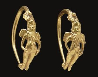 Greek gold earrings, featuring a winged Eros, Hellenistic Period, c. 2nd - 1st century BC,