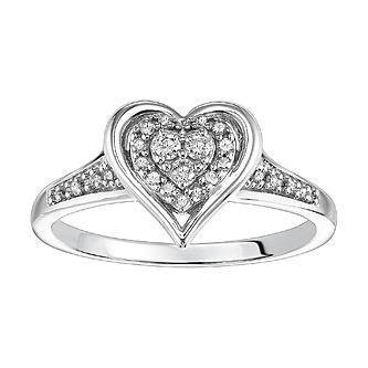 Promise Your Love 1/6 Cttw. Round Cut Diamonds Engagement Ring Sterling Silver