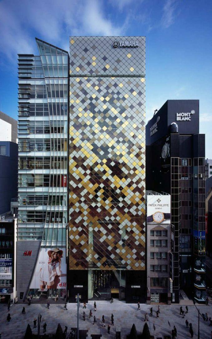 so great.: Facades, Yamaha Building, Japan, Facade, Tokyo, Nikken Sekkei, Architecture, Yamaha Ginza, Design