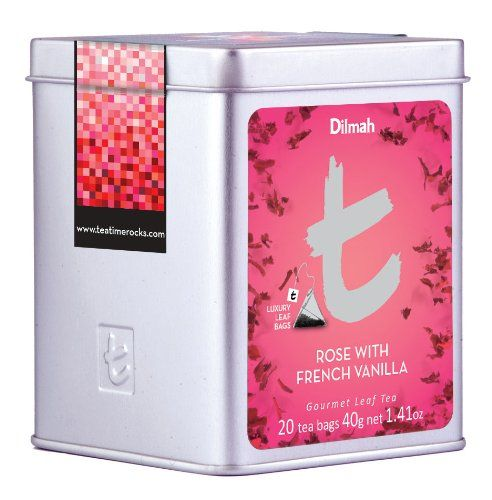 Dilmah T-Series Rose with French Vanilla, 20-Count Luxury Leaf Tea Bags (Pack of 3)
