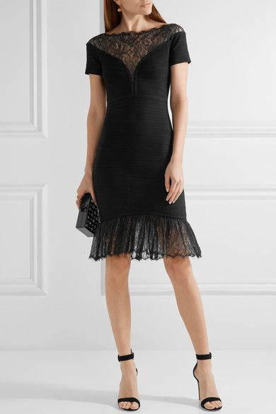 Black bandage, black and beige lace Concealed hook and zip fastening at back 90% rayon, 9% nylon, 1% spandex Dry clean