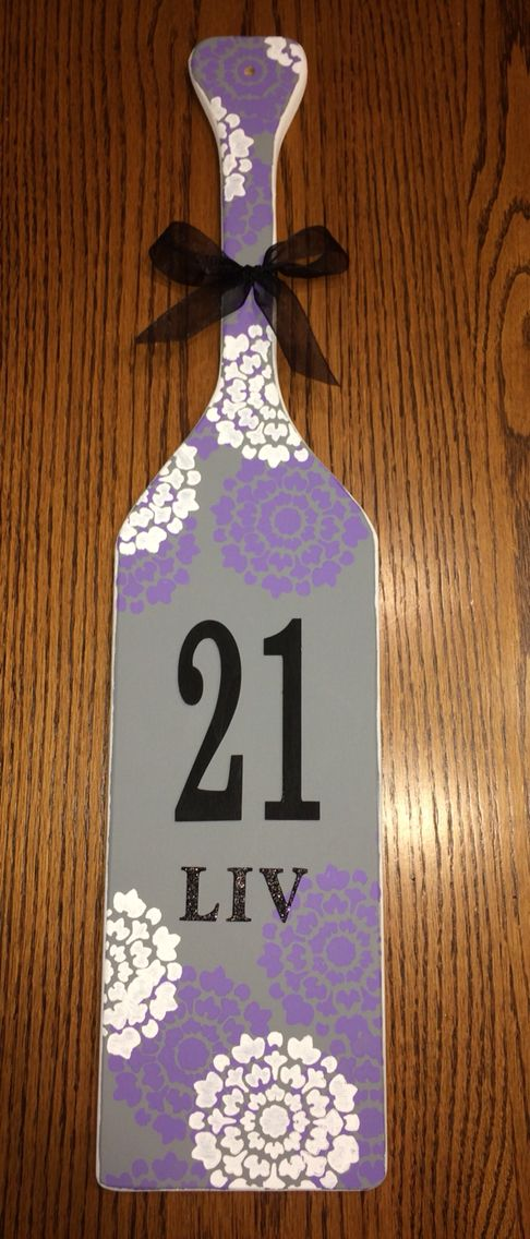 21st paddle #21 #paddle #sorority #purple #grey