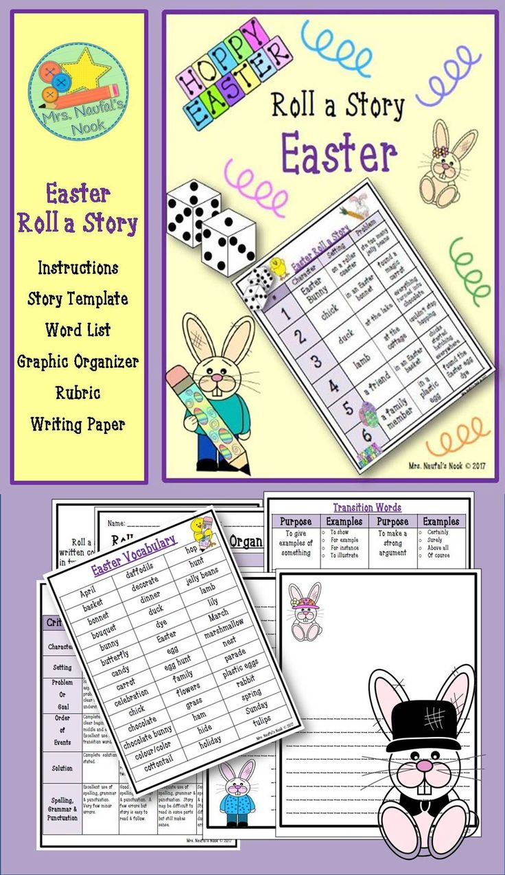 Easter writing is a fun way to celebrate the holiday.  Students will have an opportunity to start one with these roll a story prompts.  You will find a word list, transition words, rubric and writing templates for both emergent and established writers.