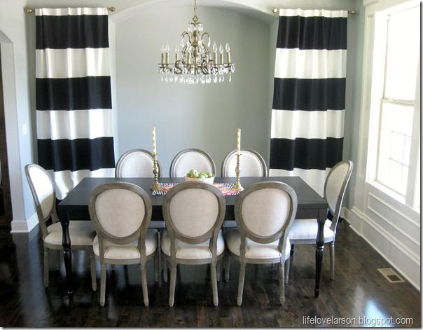 No Sew Black & White Striped Curtains tutorial