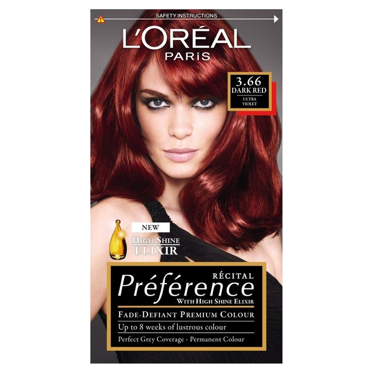 L'Oreal Paris Preference Hair Colourant Ultra Violet Dark Red 3.66. Are you looking for fade resistant, high shine hair colour? Recital Préférence's patented anti-fade system locks colour into the hair, ensuring a luminous and long-lasting colour which covers up to 100% of grey hair. The high shine conditioner is enriched with Vitamin E and UV filters; the formula revives and prolongs your colour's first day shine. It keeps your colour shiny and luminous, and your hair soft and silky for…