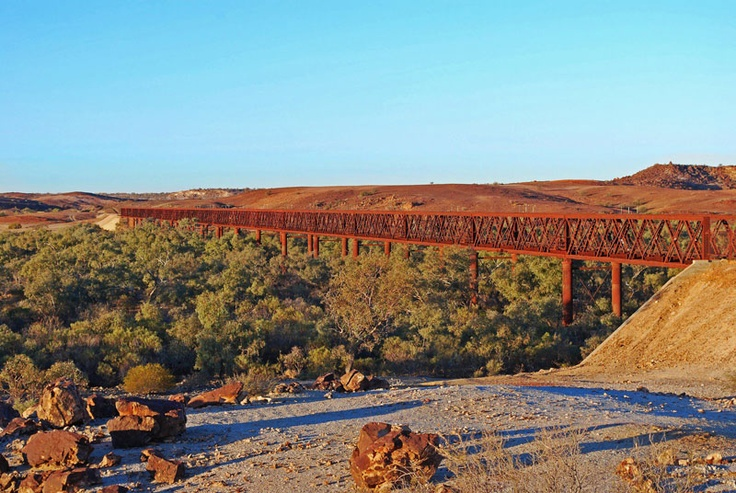Algebuckina: A siding ruin near the Neales River with a permanent waterhole east of the track. One of the most impressive bridges (1889) on the old line is across the river. It is 12 metres above the river and at 578m in length, is the longest bridge ever built in South Australia.