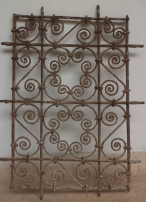 Grille fenetre ancien fer forg d coration maroc antique for Decoration fer forge mural