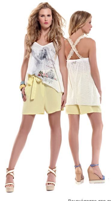 Yellow shorts paired with a romantic t-shirt create a pretty chic and cool morning outfit!