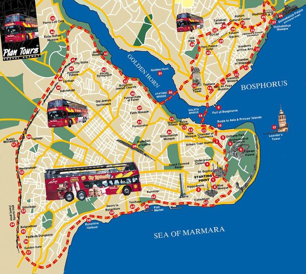 Istanbul Turkey Attractions | Istanbul Tourist Map