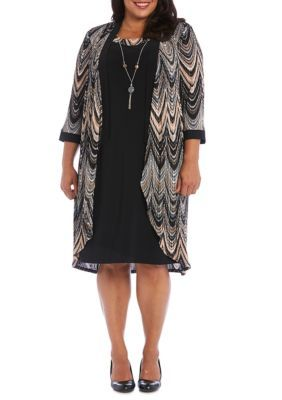 Rm Richards Women's Plus Size Chevron Print Jacket Dress With Necklace - Black/Taupe - 16W Average Or Medium Or Regular