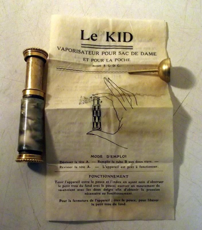 """Vtg c1920's French """"Le Kid"""" Perfume Atomizer by Marcel Franck Co. w/Instructions"""