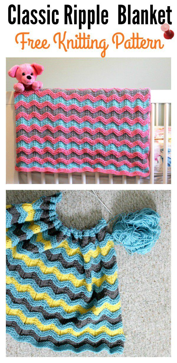 Classic Ripple Baby Afghan Blanket Free Knitting Pattern