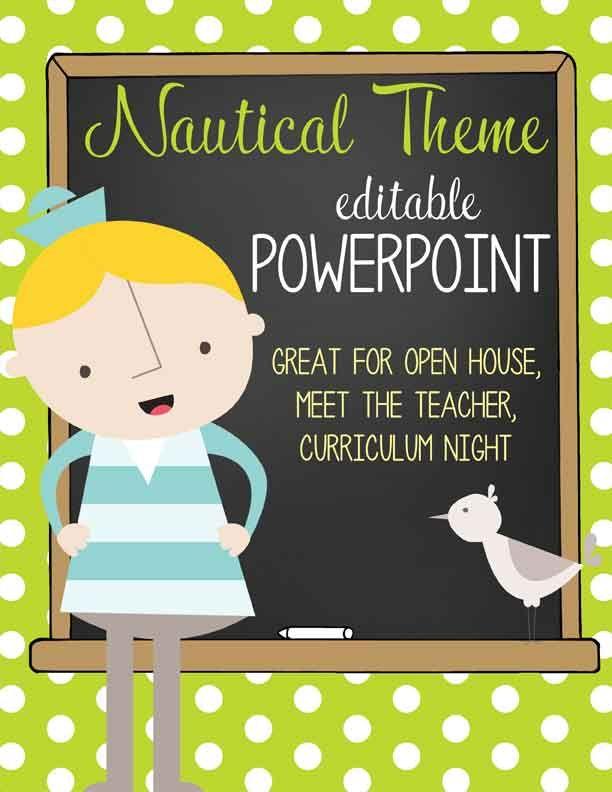 Classroom Decor Templates : Nautical lime powerpoint open house curriculum night