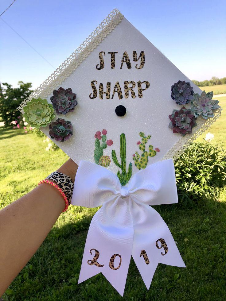 Cactus end cap idea. College graduation cap. Stay sharp