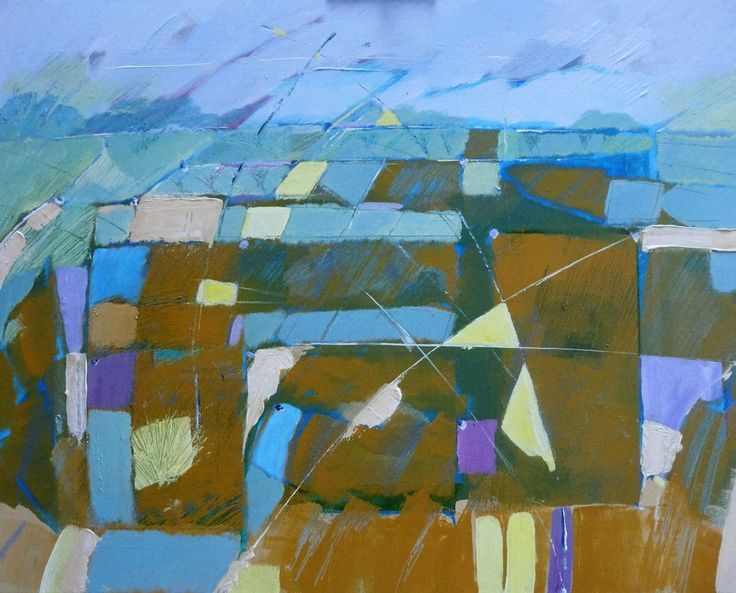 FINEARTSEEN - View Patterns of land and sky by peter park. A beautiful original landscape painting full of colour. Available on FineArtSeen - The Home Of Original Art. Enjoy Free Delivery with every order. >