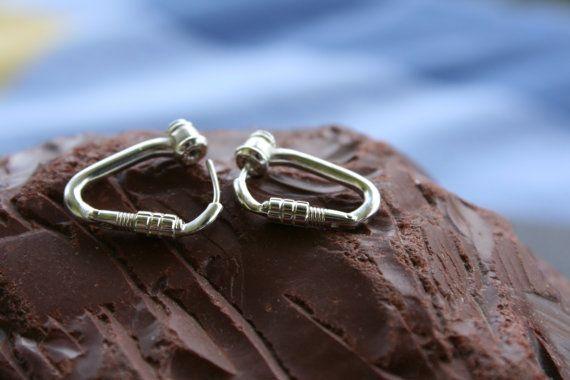 Rock Climbing Locking Carabiner Earrings Sterling Silver Jewelry