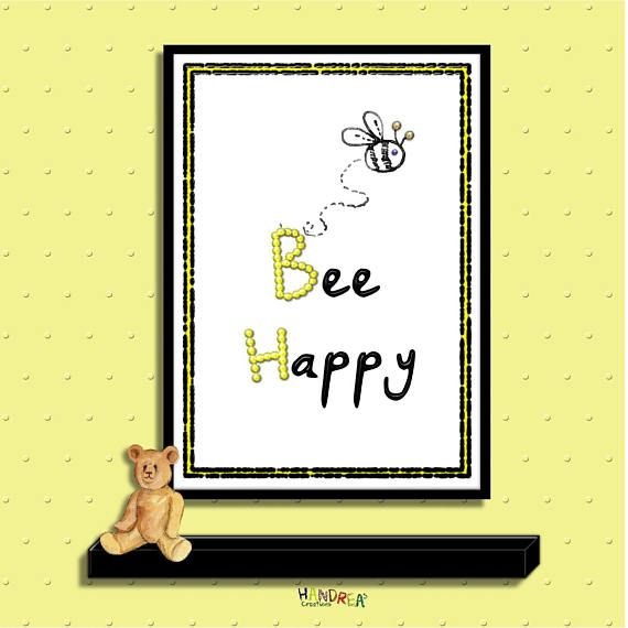 A motivational Bee Happy positive quote which would look Fabulous on any wall in the house or office. It would make the perfect new house or a wedding gift for friends and family.  For people who love the Humble Bee.  This is an Instant Download for you to print and display as you wish.  *No physical item will be sent*  You will receive 2 high quality 300dpi Jpeg downloads - with the digital frame and without.  Please ask any questions