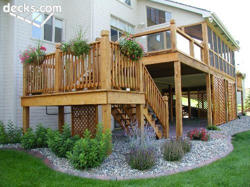 Landscaping Around Tall Deck : Around deck on front yard decor landscape and
