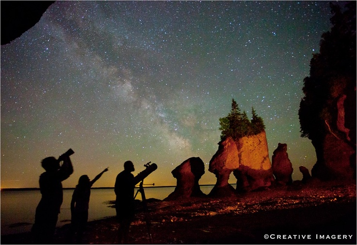 The Milky Way as seen from the beach of the Hopewell Rocks in New Brunswick, Canada.