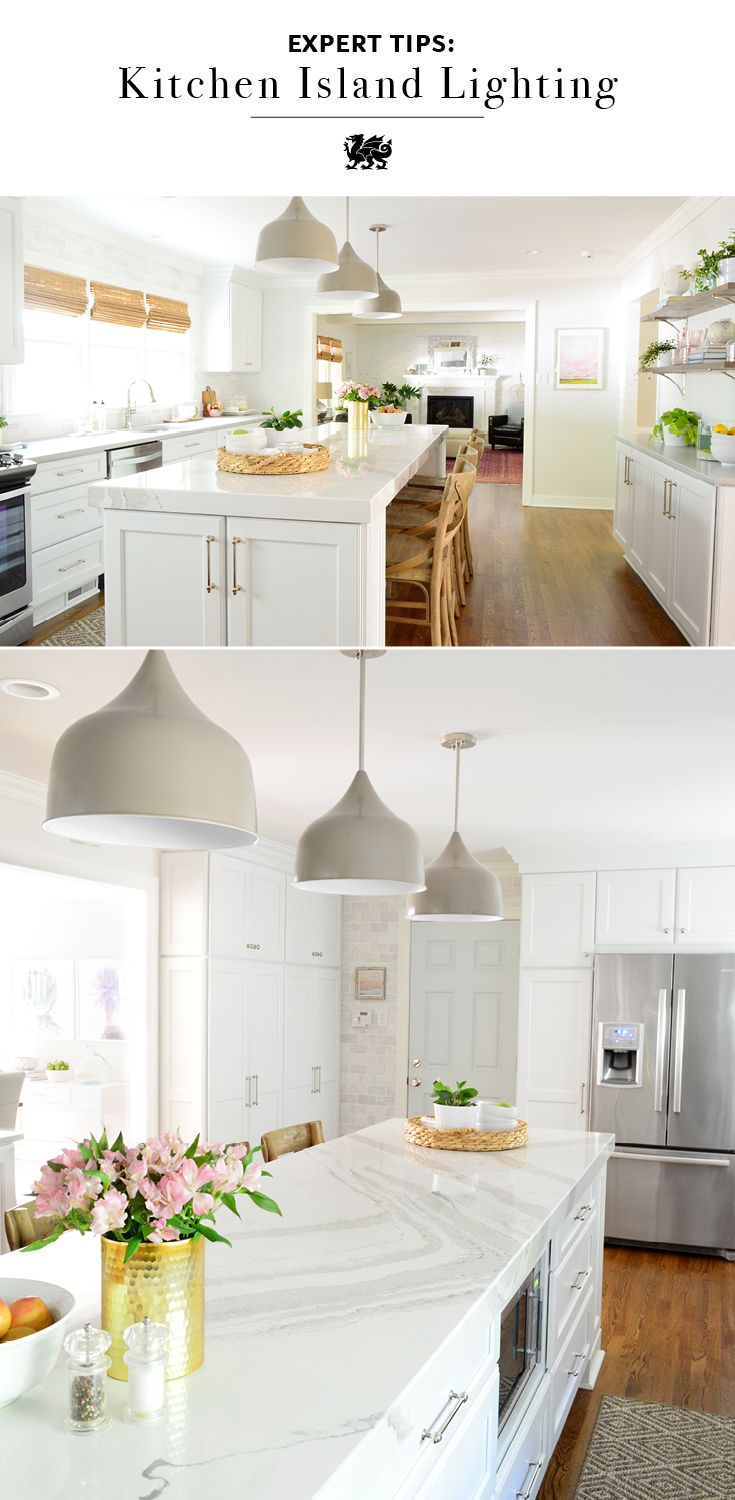 Consider size, shape, and color when choosing lighting for your kitchen island. Home renovation team Young House Love chose large metal pendant lights to lend visual weight above their oversized island. The pendant light hue brings out the veins of their Cambria Brittanicca™ white quartz countertop. Learn more of their expert tips and behind-the-scenes of their reno.