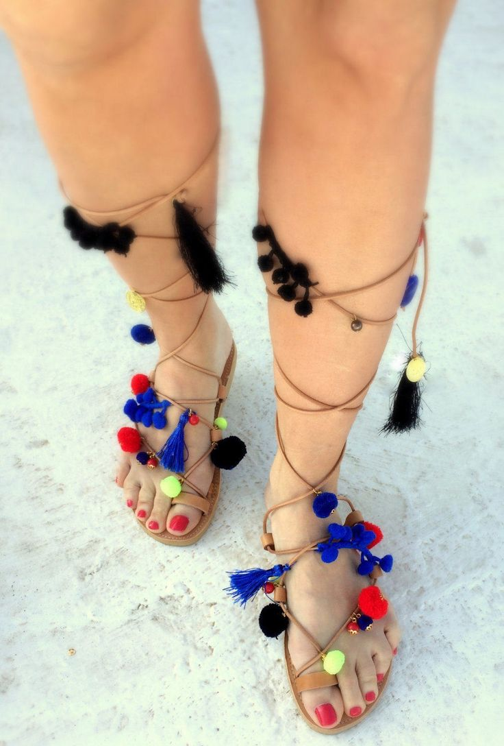 boho pom pom sandals  royal blue/ red/ black yellow/handmade in greece/ gold details /lace up flat sandals/ woman sandals by aeliasandals on Etsy