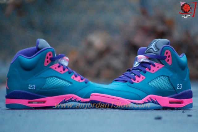Where To Get Womens Tropical Teal 440892-307 AIR JORDAN V Teal/Pink/Purple